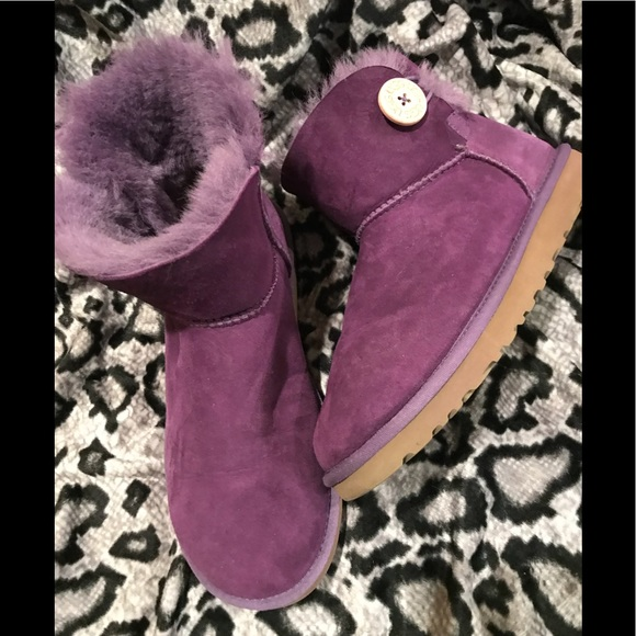 cb733d46a7d UGG Mini Bailey Button Purple Boots